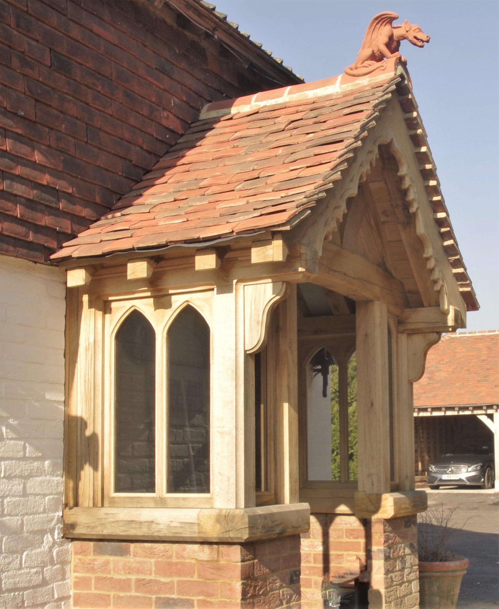 green oak framed porch