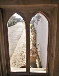Oak window in green oak proch