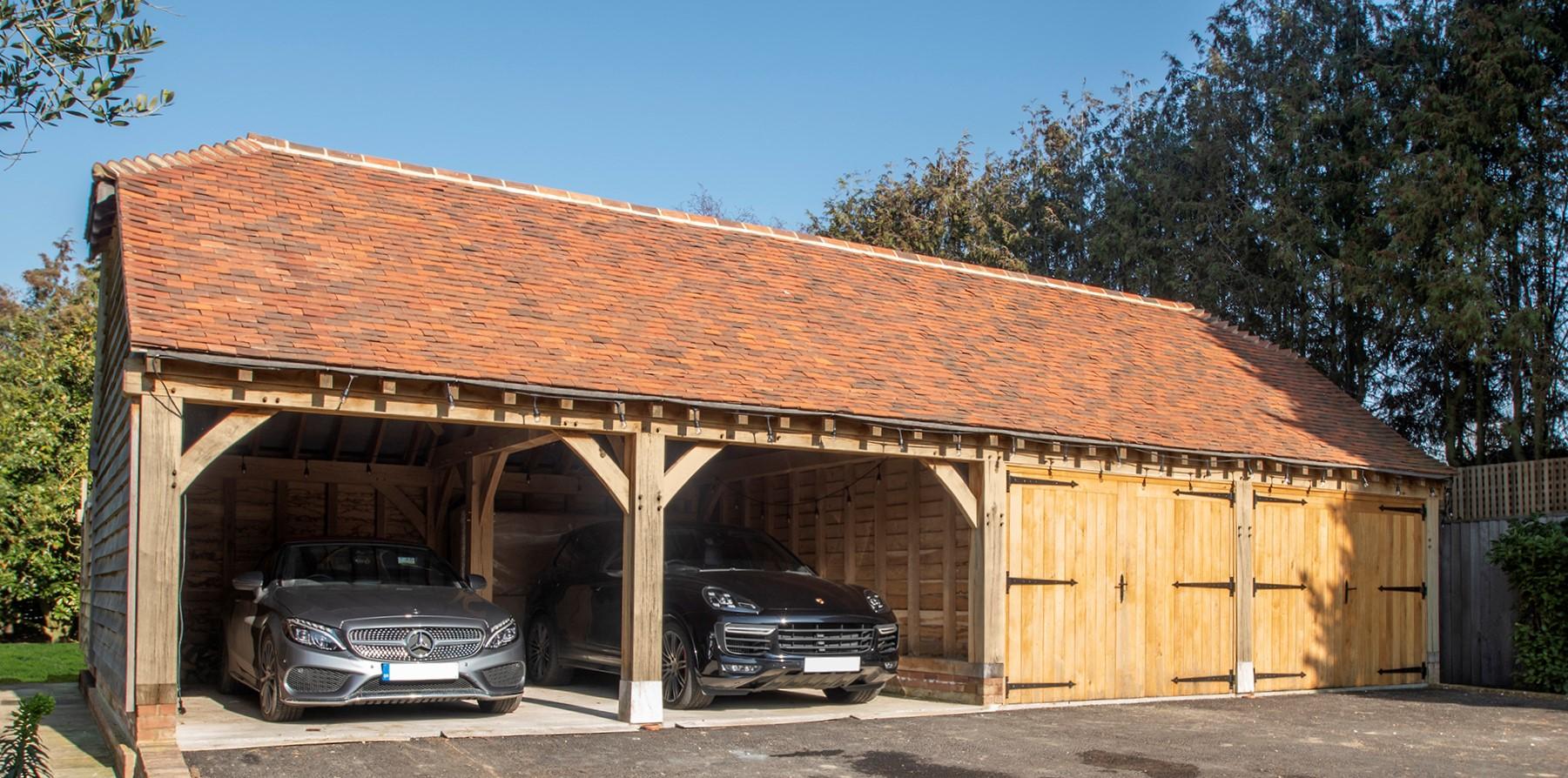 Green oak cartshed garage produced in Kent